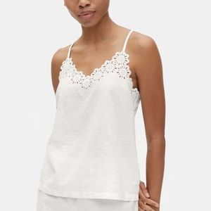 Gap Dreamwell Embroidered Cami In Swiss Dot